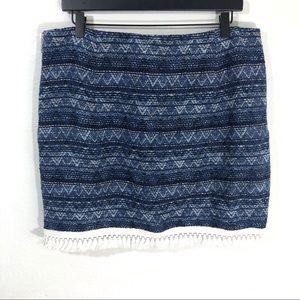 Michael Kors Blue Skirt White Fringe Size 12